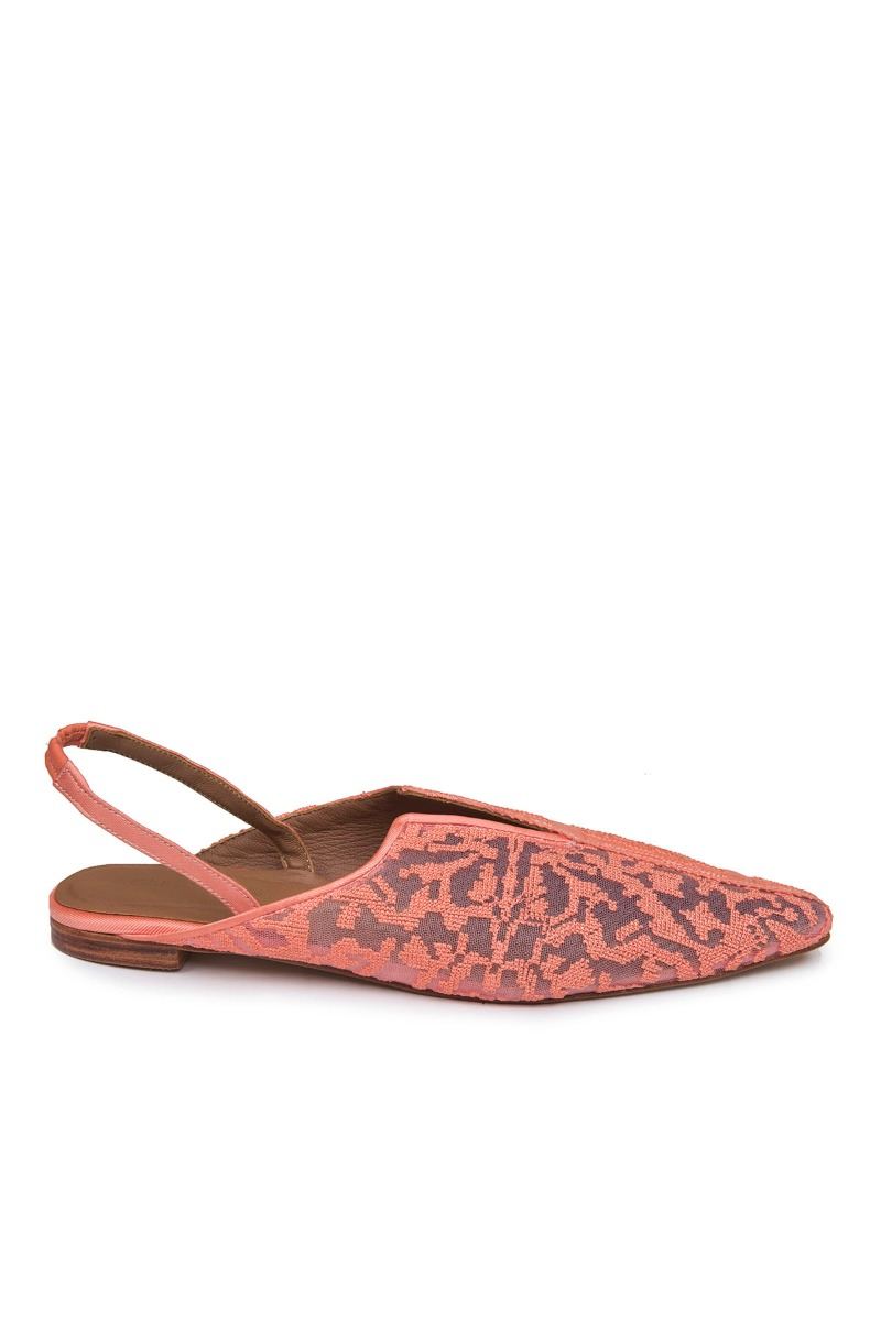 SAPTO DJOJOKARTIKOCoral Orange Kelimara Embroidered Slingback